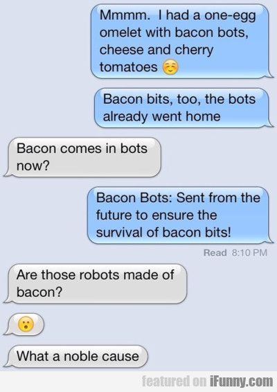 Mmmm I had a one-egg omelet with bacon bots..