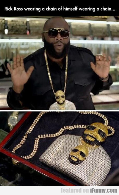 rick ross wearing a chain of himself...