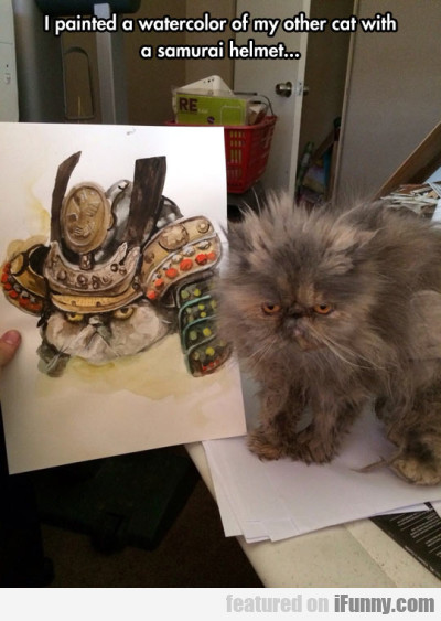 I Painted A Watercolor Of My Other Cat...