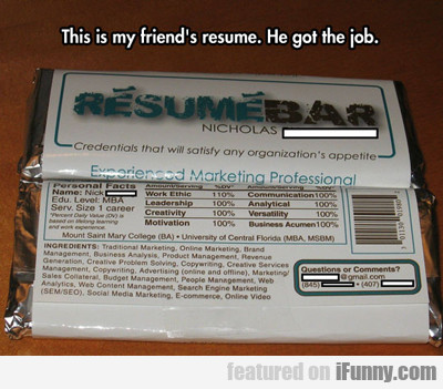 This Is My Friend's Resume...