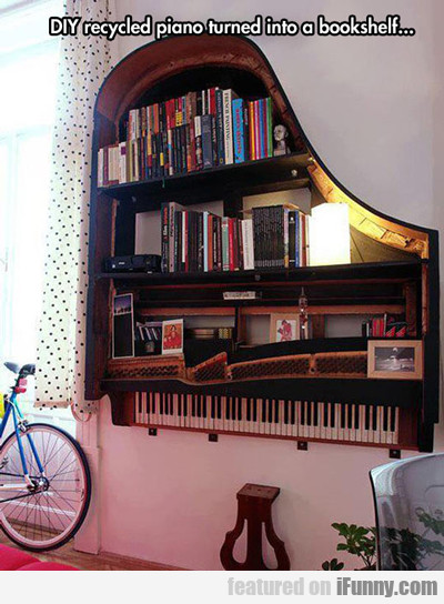 Diy Recycled Piano Turned Into A Bookshelf...