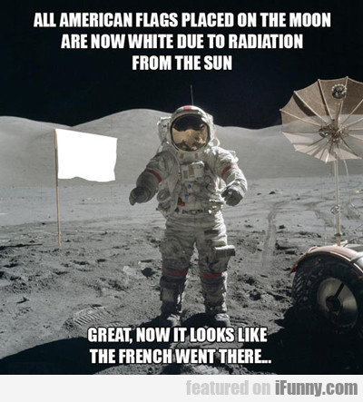 all american flags placed on the moon...