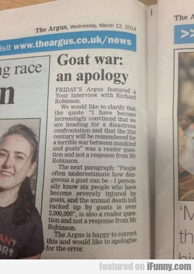 Goat War: An Apology