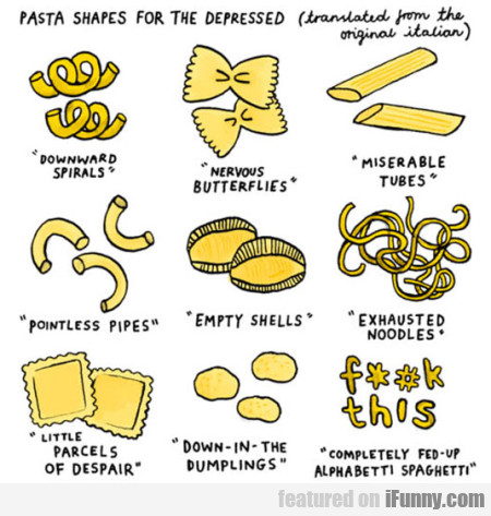 Pasta Shapes For Depressed