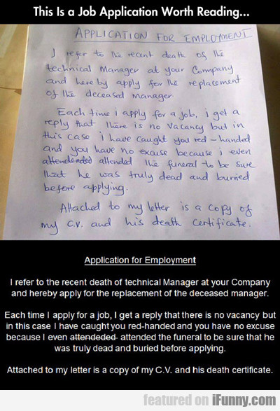 This Is A Job Application Worth...