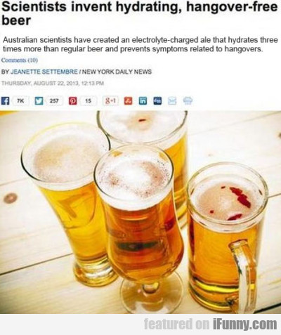 Scientists invent hydrating, hangover free beer