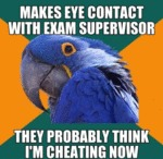 Makes Eye Contact With Exam Supervisor...