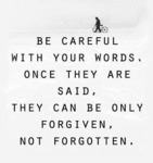 Be Careful With Your Words, Once They Are Said...