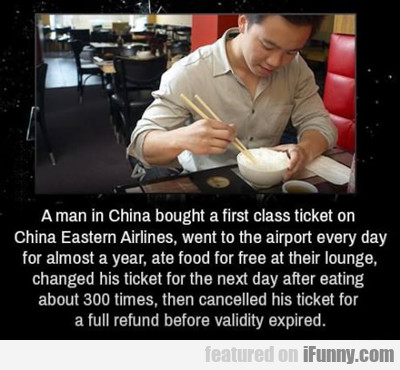 a man in china bought a first class ticket...