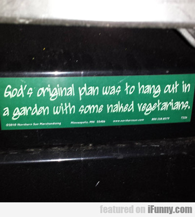 God's Original Plan Was To...