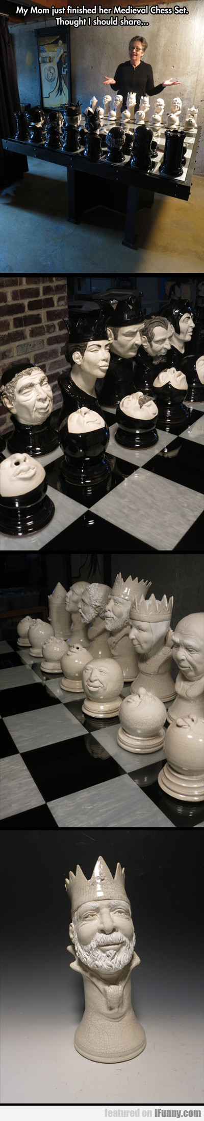 My Mom Just Finished Her Medieval Chess Set...