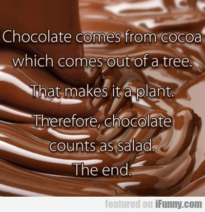 Chocolate Comes From Cocoa...