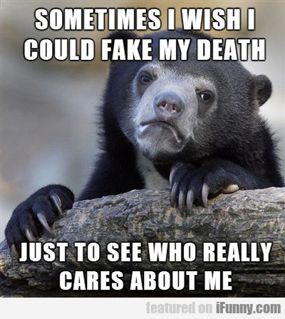 sometimes i wish i could fake my death...