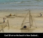 Cool 3d Art On The Beach In New Zealand...