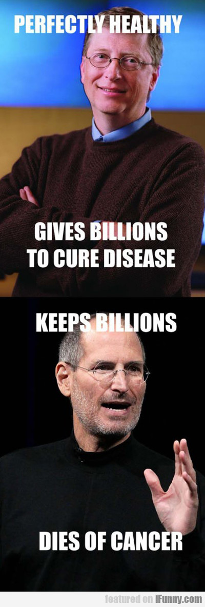 Perfectly Healthy, Gives Billions To Cure...