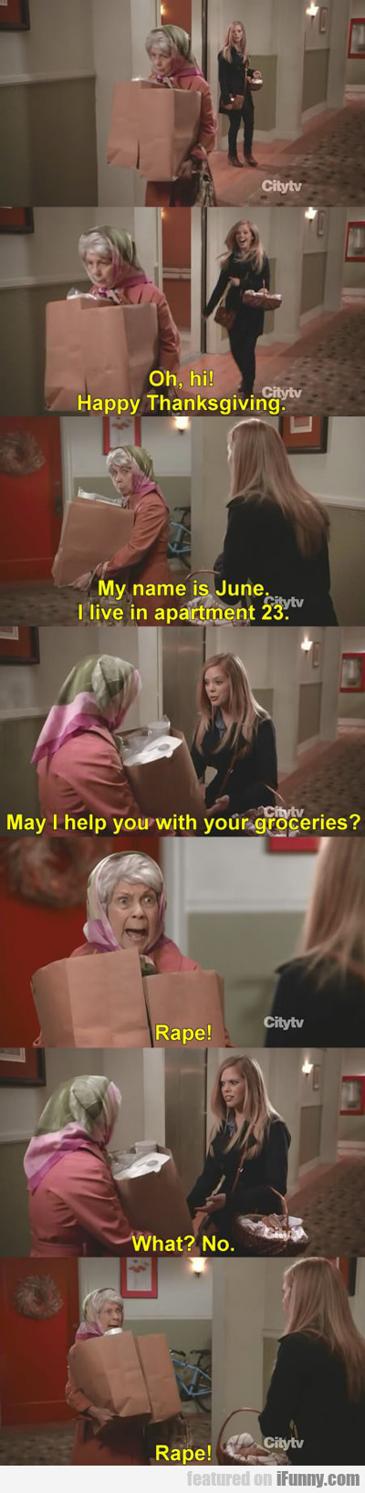 oh hi, happy thanksgiving, my name is june...