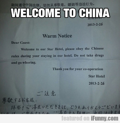 Welcome To China...