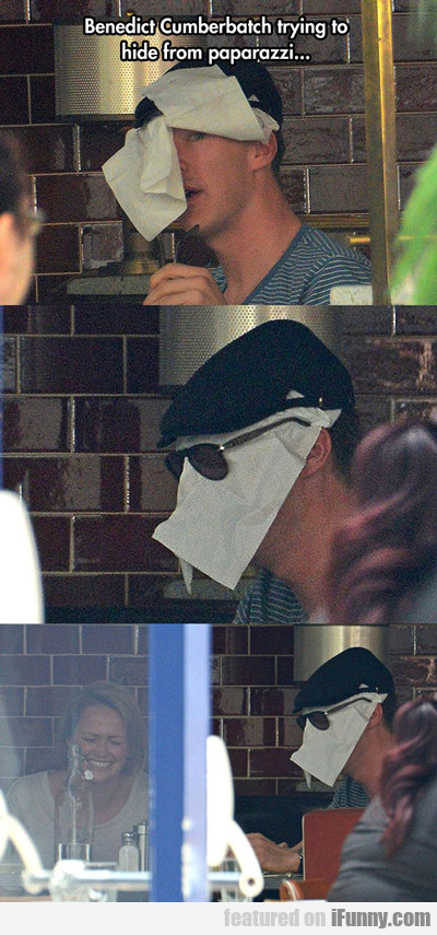 Benedict Cumberbatch Trying To Hide From Paparazzi