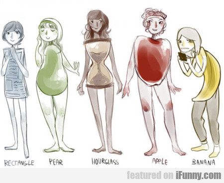 Rectangle. Pear. Hourglass. Apple