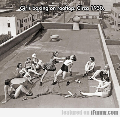 Girls Boxing On Rooftop...