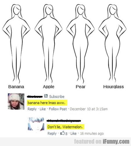 Banana. Apple. Pear. Hourglass