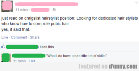 Just Read On Craiglist Hairstylist Positin