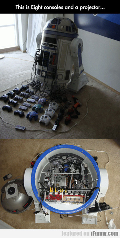 this is eight consoles and a projector...