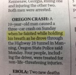 Oregon Crash...