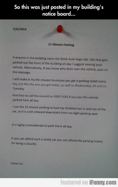 So This Was Just Posted In My Building's Notice..