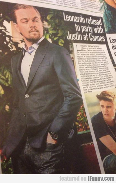 Leonardo Refused To Party With Justin At Cannes...