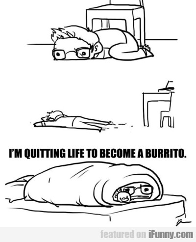 I'm Quitting Life To Become A Burrito