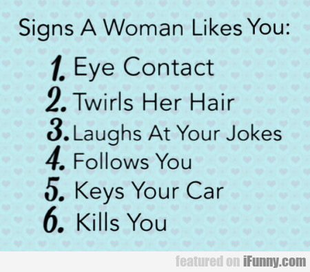 Signs a woman likes you - Eye contact...