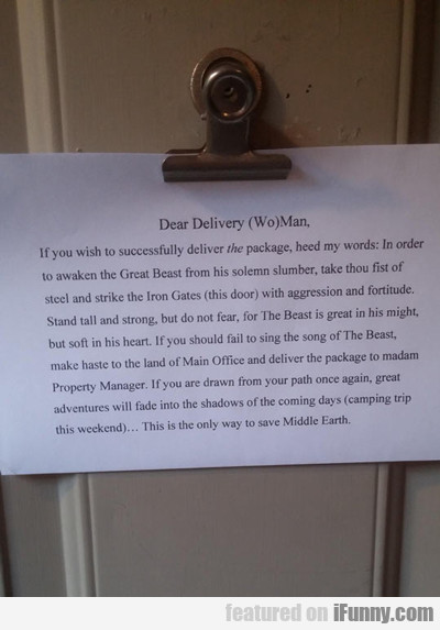 dear delivery (wo)man...