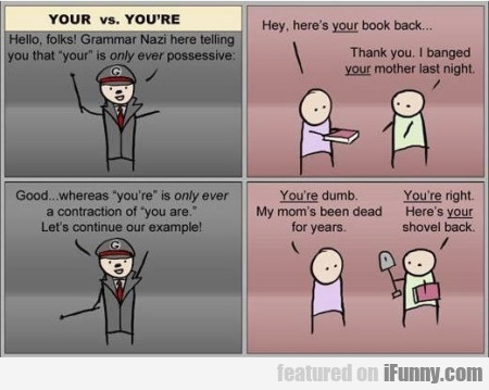 Your Vs. You're. Hello Folks! Grammar Nazi