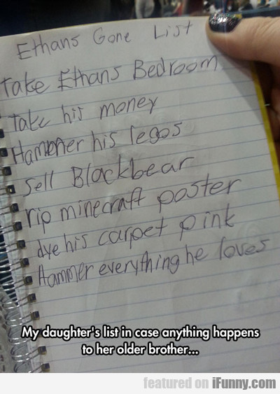 My Daughter's List In Case Anything Happens...