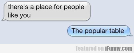 There's A Place For People Like You. The Popular..