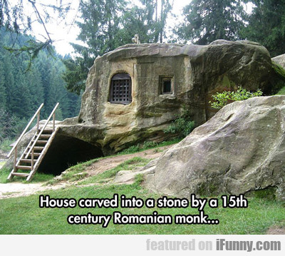 house carved into a stone...