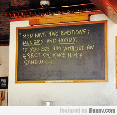 men have two emotions...