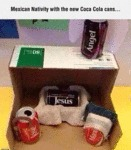 Mexican Nativity With The New Coca Cola Cans...