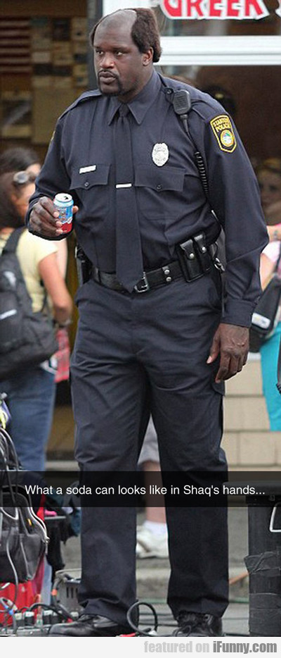 What A Soda Can Looks Like In Shaq's Hands...