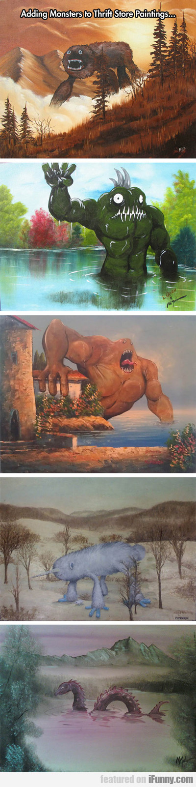 Adding Monsters To Thrift Store Paintings...