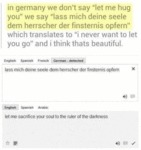 "In Germany We Don't Say ""let Me Hug"