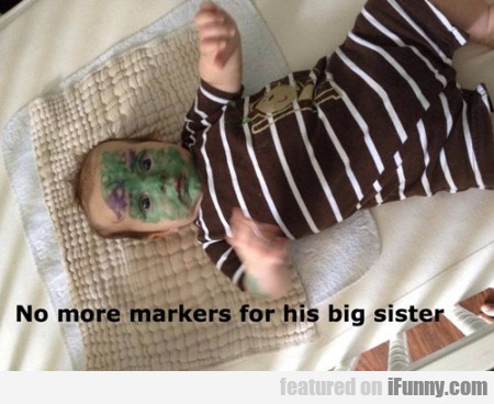 No More Markers For His Big Sister