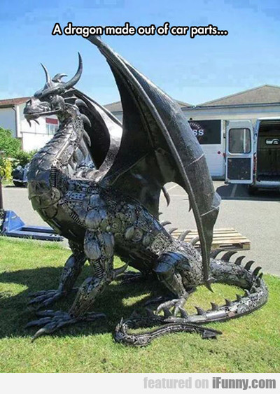 a dragon made out of car parts...