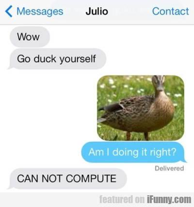 Wow Go duck yourself. Am I doing it right?