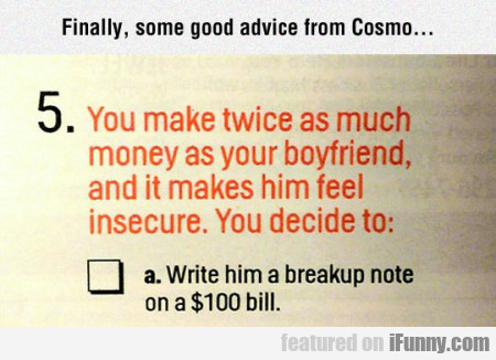 Finally, Some Good Advice From Cosmo...