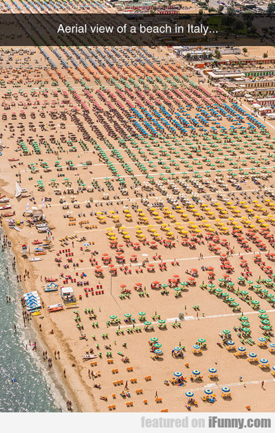 Aerial View Of Beach In Italy...