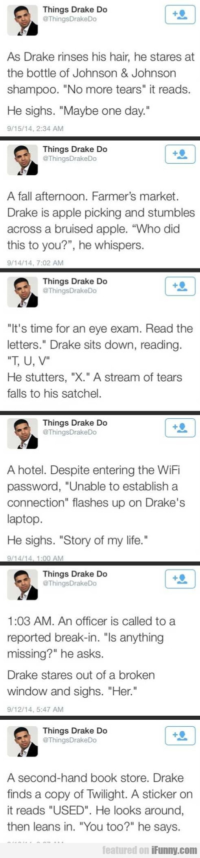 As Drake Rinses His Hair