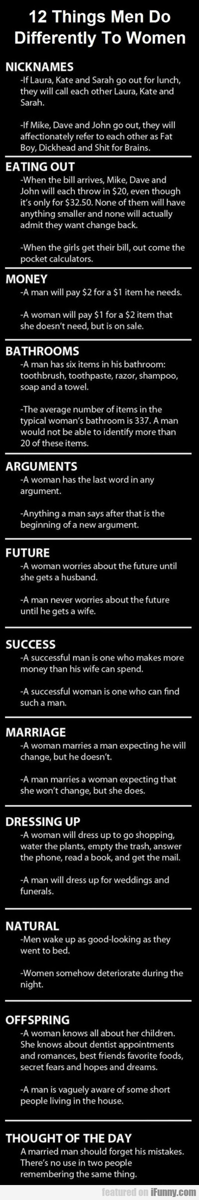 12 things men do differently than women...