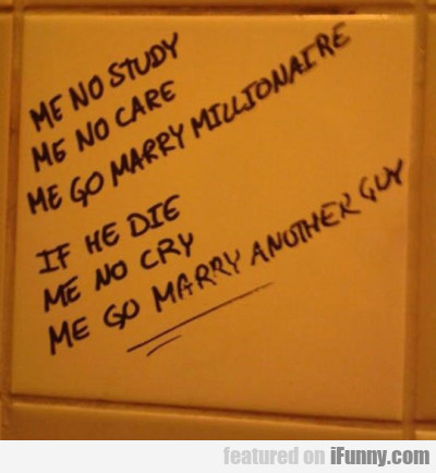 Me No Study, Me No Care, Me Go Marry...